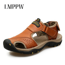 цена на Sandals Men Shoes Summer 2019 Beach Gladiator Fashion Men's Outdoor Sandals Genuine Leather Luxury Brand Men Shoes Sandals 2A