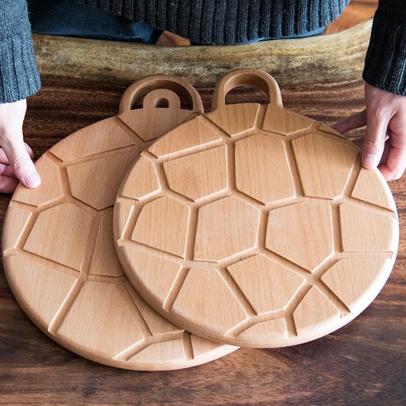 Creative new beech round tortoiseshell Nordic wind bread board natural wood baking wooden pizza pan