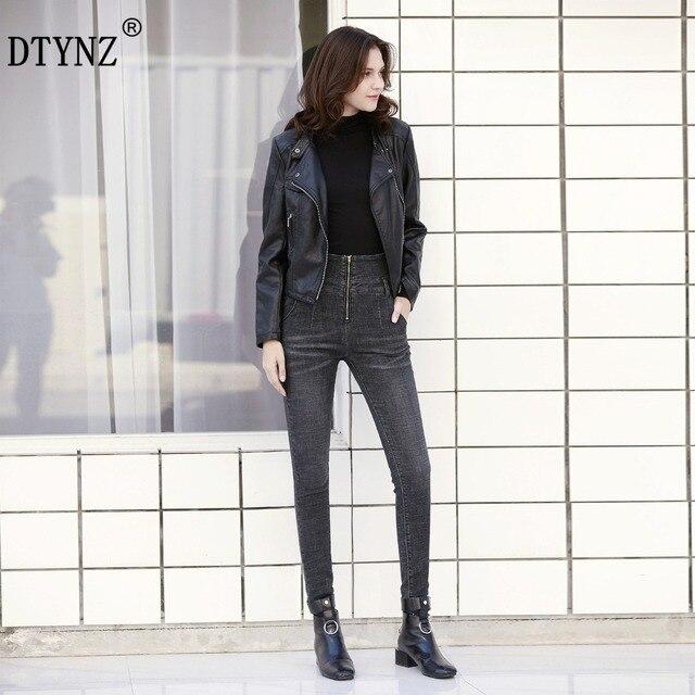 f70243ad32 DTYNZ women new High waist high elastic force jeans denim pants Autumn  Stylish Breathable comfortable Slim pencil pants S--4XL