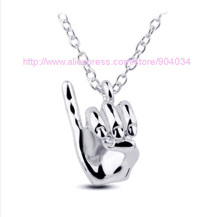 AKA pinkie up necklace  Hip Hop Hand Pendant  Necklace Choker Jewelry palm necklace 1pcs free shipping