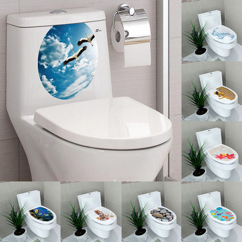 Creative 1PC 3D Toilet Seat Wall Sticker Vinyl Art Wallpaper Removable Bathroom Decals Home Decor