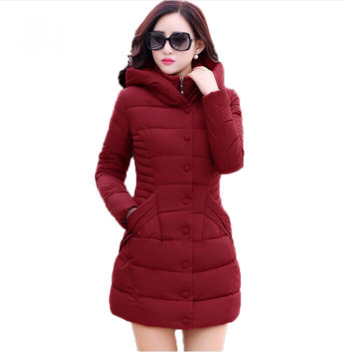 new 2017 winter hooded jacket women cotton wadded overcoat medium long slim casual fashion parkas plus