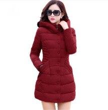 Новый 2017 зима с капюшоном куртки женщины хлопок ватные пальто средней длины тонкий вскользь парки плюс размер XXXL вино красный пальто