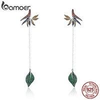 BAMOER 925 Sterling Silver Strelitzia Flower Petal Leaves Long Chain Drop Earrings For Women Party Earrings