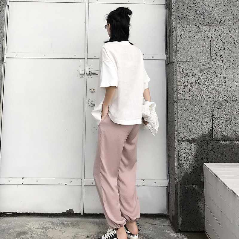 TWOTWINSTYLE Irregular camiseta mujer Lino Patchwork cuello redondo manga corta japonesa camiseta femenina verano ropa de moda básica