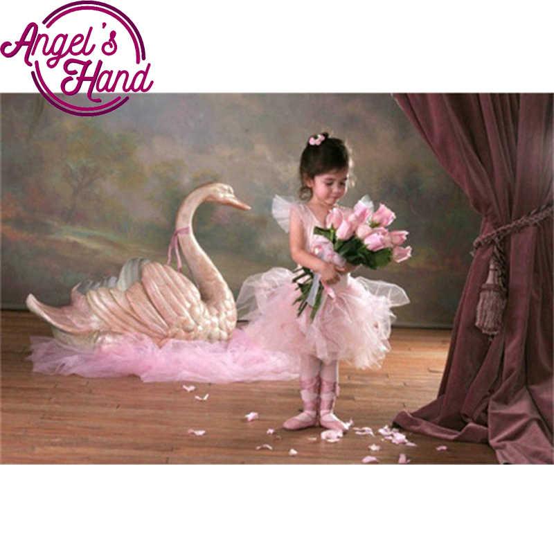 Diy Diamant Schilderen Kruissteek Ballerina meisje Diamant Borduurwerk zwaan foto 5d ronde diamant mozaïek roze roos patroon
