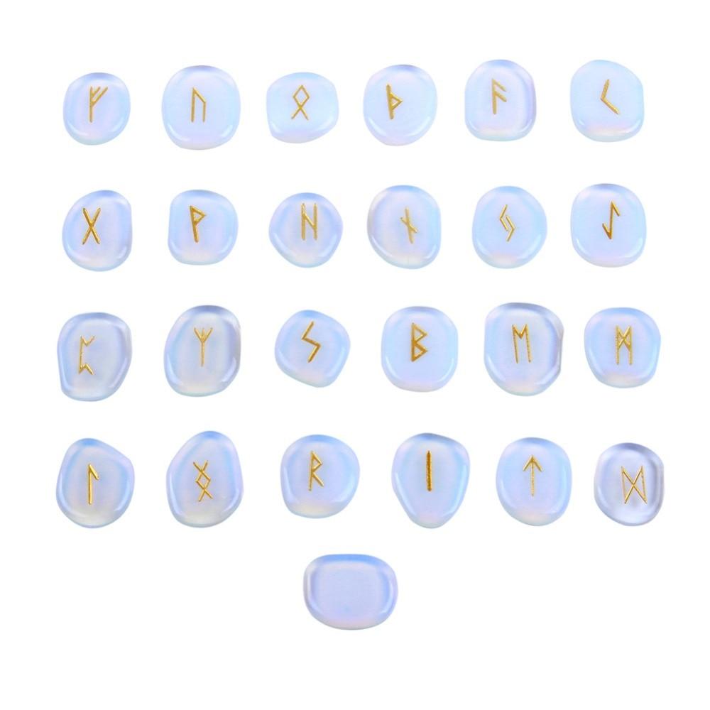 Inciso Bianco Opalite Pietra Palma 25 pz Vichingo Rune Stones Set Reiki Guarigione Di Cristallo Del Mestiere Feng Shui Decorazione con Velluto borsa
