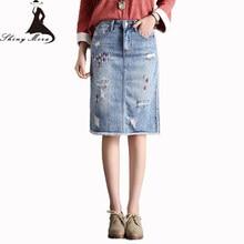 e48145aff6 SHINYMORA 2018 Primavera Verano Jeans faldas para mujer chica moda agujero  bordado Denim faldas hasta la rodilla Retro faldas co.