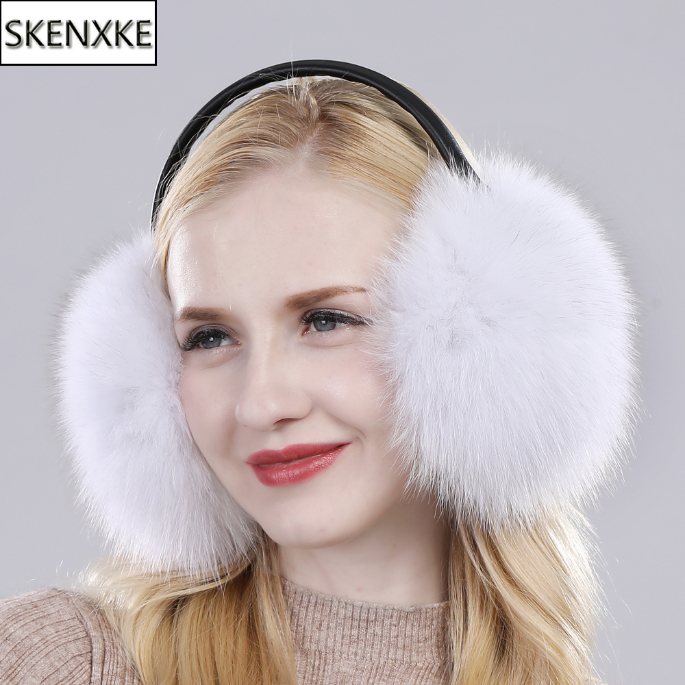 New Women Winter Warm Fluffy Natural Real Fox Fur Earmuffs Genuine Fox Fur EarMuff Girls Outdoor Windproof Real Fox Fur Ear-cap