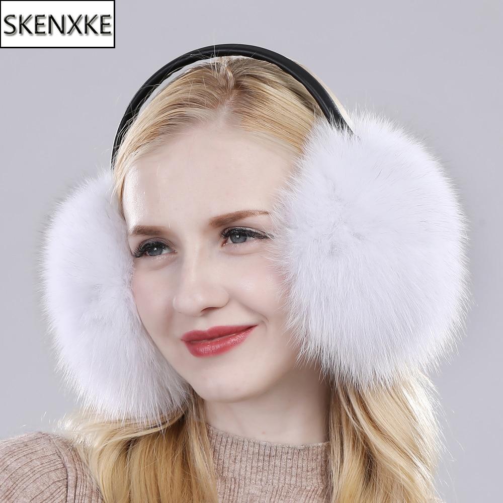New Women Winter Warm Fluffy Natural Real Fox Fur Earmuffs Genuine Fox Fur EarMuff Girls Outdoor Windproof Real Fox Fur Ear-cap