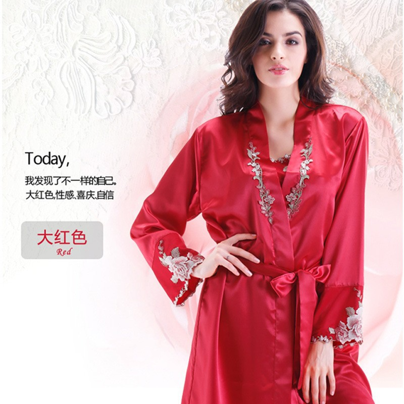 Red Satin Silk Robes and Silk Nightgown Sets for Women