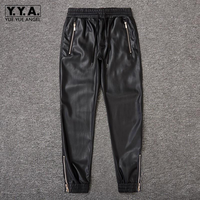 Windproof Casual Warm Leather Pants Men Top Quality Loose Fit Pencil Moto Pants Elastic Waist Black Street Hip Hop Trousers 2019