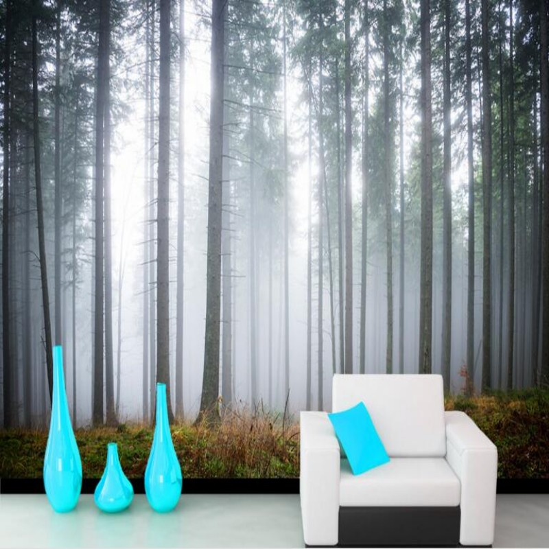 US $9.0 40% OFF|Beibehang Nach 3D Tapete Wald Morgen Nebel Landschaft Foto  Wohnkultur 3D Wohnzimmer Schlafzimmer Tapete für wände 3 d in Beibehang ...