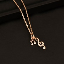 Trendy Music Notes Pendant Women Necklace Chain Xl488 Silver Plated Statement Jewelry