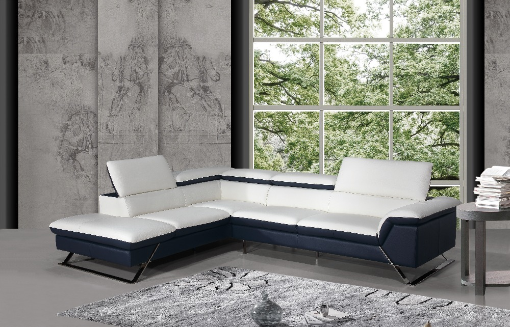 Modern sofa set design leather corner sofa with genuine for Modern sofa design italian
