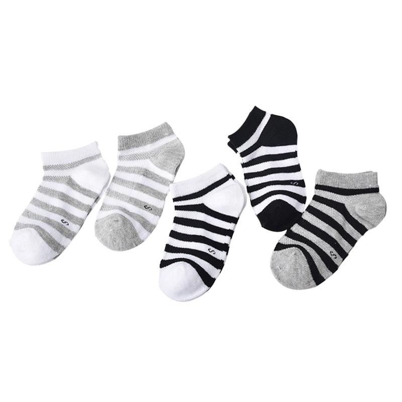 5 Pair=10PCS/lot Baby Socks Neonatal Spring Summer Mesh Cotton Plain Stripes Kids Girls Boys Children Socks For 4-12 Year 1