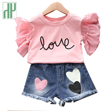 Toddler girls summer clothing off shoulder White summer top+Denim Shorts casual kids outfits set children clothing 4th of july