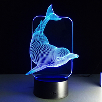 Dolphin Head 7 Color Change Night Light Home Decor Bedroom 3D Acrylic LED Art Lamp WC605
