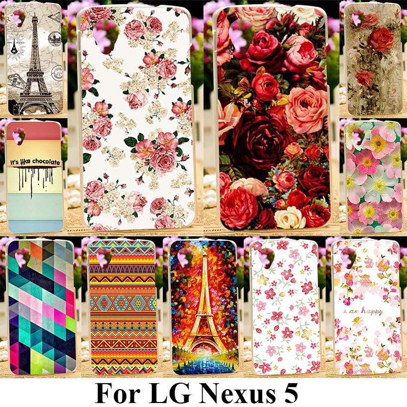 Silicon Soft Covers For LG Google Nexus 5 E980 D820 4.95 Inch Nexus5 D821 Cover Silicone Cases Rose Peony Flower Bag