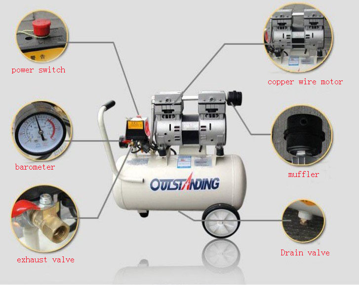 Noisy less light tool,air compressor,0.7MPa pressure,18L air pool cylindereconomic speciality of piston filling machine 220V