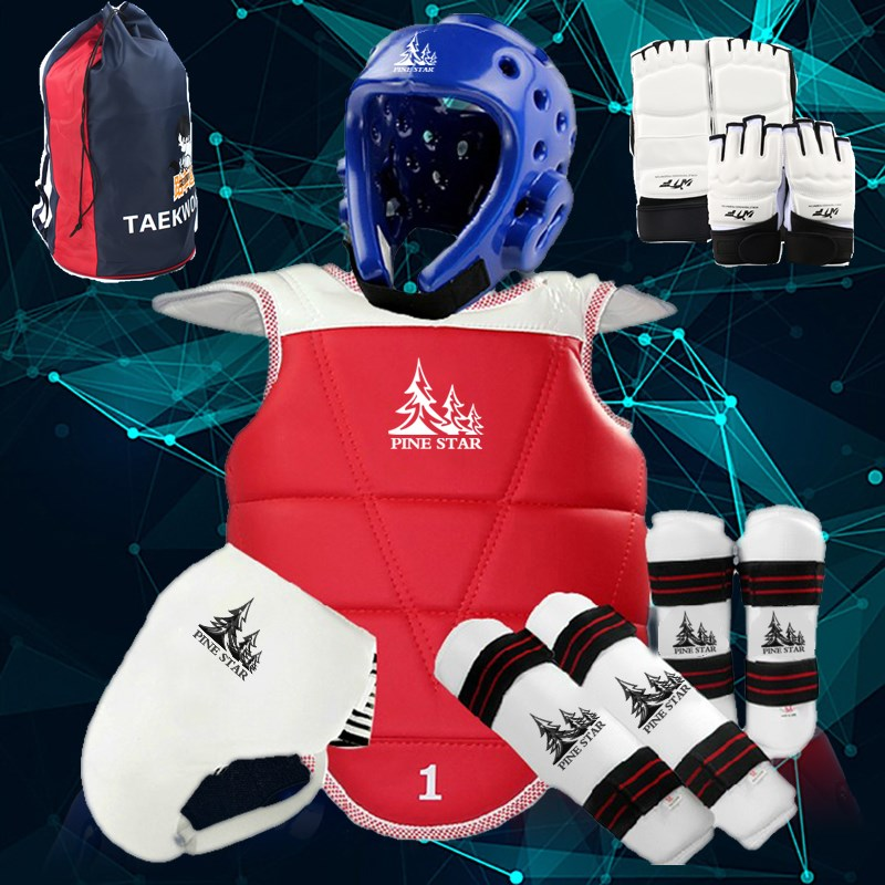 Taekwondo Thick Protective Gear 8pcs Set Adults Kids red S