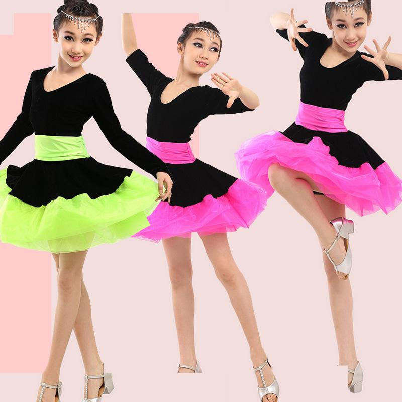 Professional Girl Long Sleeves Latin Dance Dress Children Ballroom Dancing Dress Kids Salsa Rumba Cha Cha Tango Stage Dress Wear