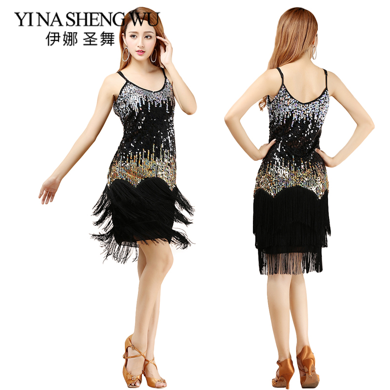 2cb26a9f9 2016 novedad sexy vestido de baile latino con borla para mujeres chicas  falda de baile latino ropa a ...