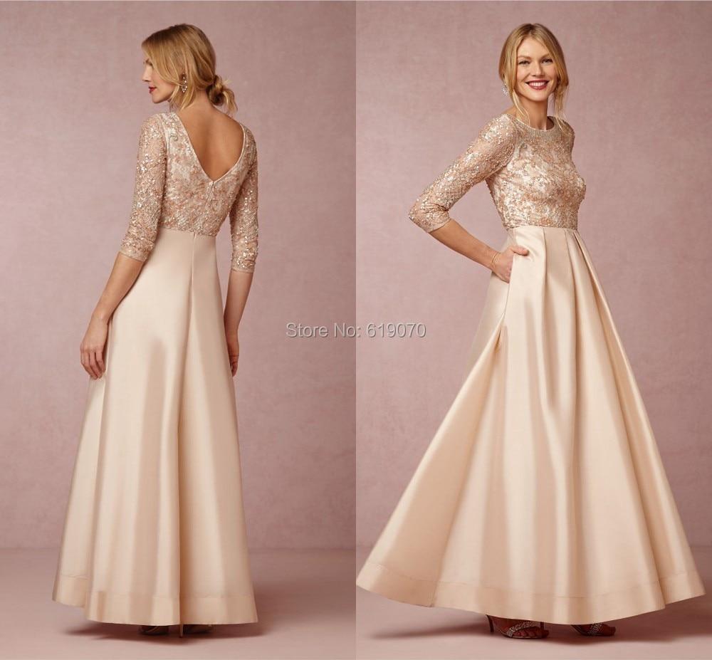 Champagne Bridegroom Mom Gown Half Sleeve Golden Satin