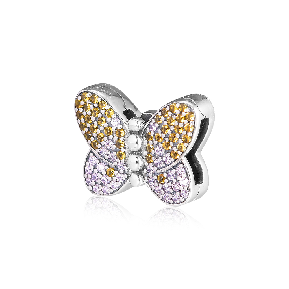 Fits for Pandora Bracelets 925 Sterling Silver Reflexions Bedazzling Butterfly Clip Charm Original Jewelry Making