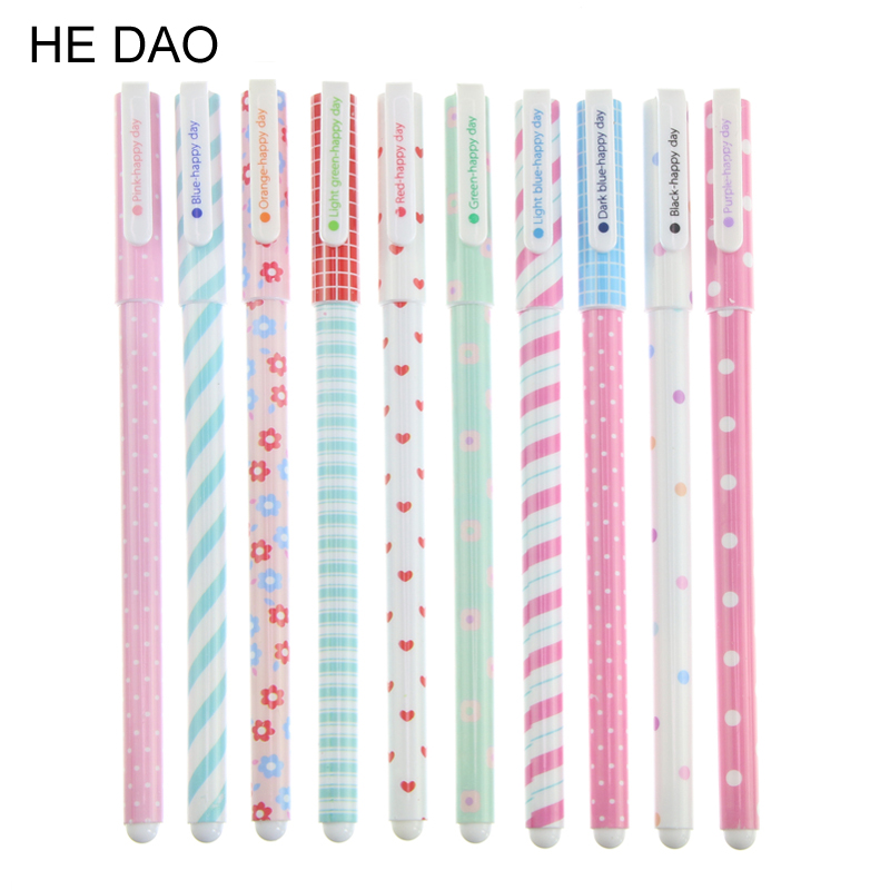 10 Pcs/lot Kawaii Cartoon Colorful Gel Pen Set Cute Korean Stationery Pens For Writting Office School Supplies Gift 5packs lot 10 colors new cute cartoon colored gel pen set kawaii stationery gift office