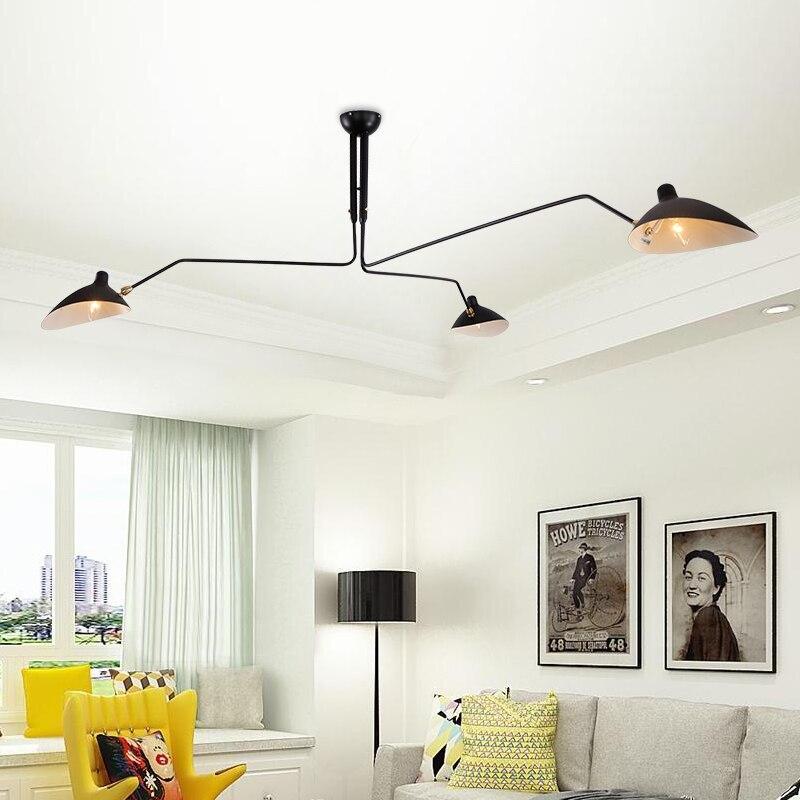 Nordique rétro araignée fer pendentif lumières Serge lampe Luminaire Suspendu Vintage suspension luminaires industriels livraison directe
