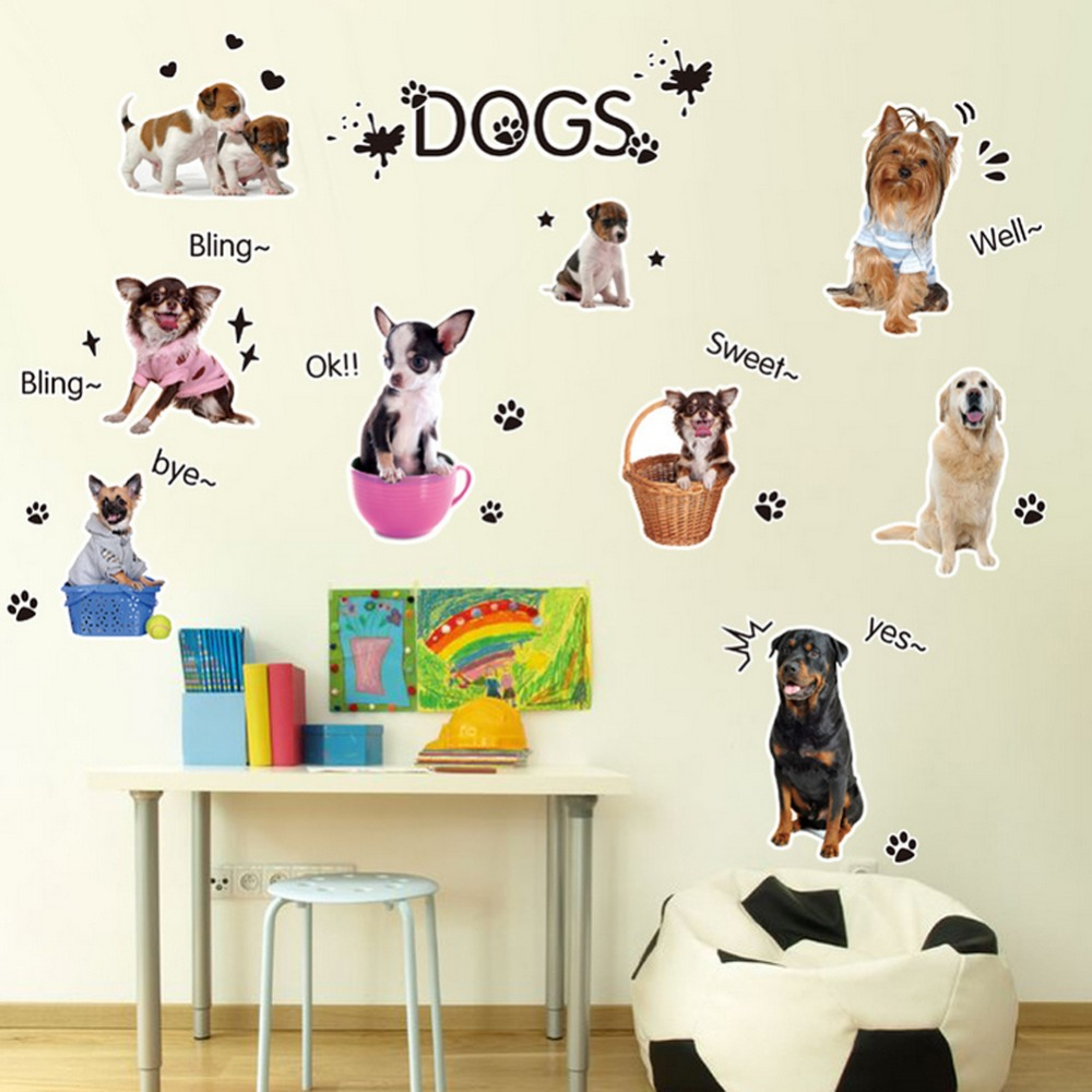 dogs family chat english letters greetings wall sticker decal home paper removable art picture murals kids baby room decoration
