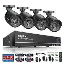 SANNCE 8CH 1080N DVR CCTV System 4pcs 720P Security Cameras IR outdoor IP66 Video Surveillance kit motion detection