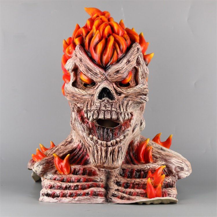 Ghost Rider Cosplay Face Masks Superhero Skull Skeleton Red Flame Fire Man Creepy Full Head Adult Props Party Halloween