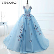 VENSANAC New 2017 Bow Draped V Neck Long Evening Dresses Sleeveless Elegant Lace Sashes Party Prom Ball Gowns
