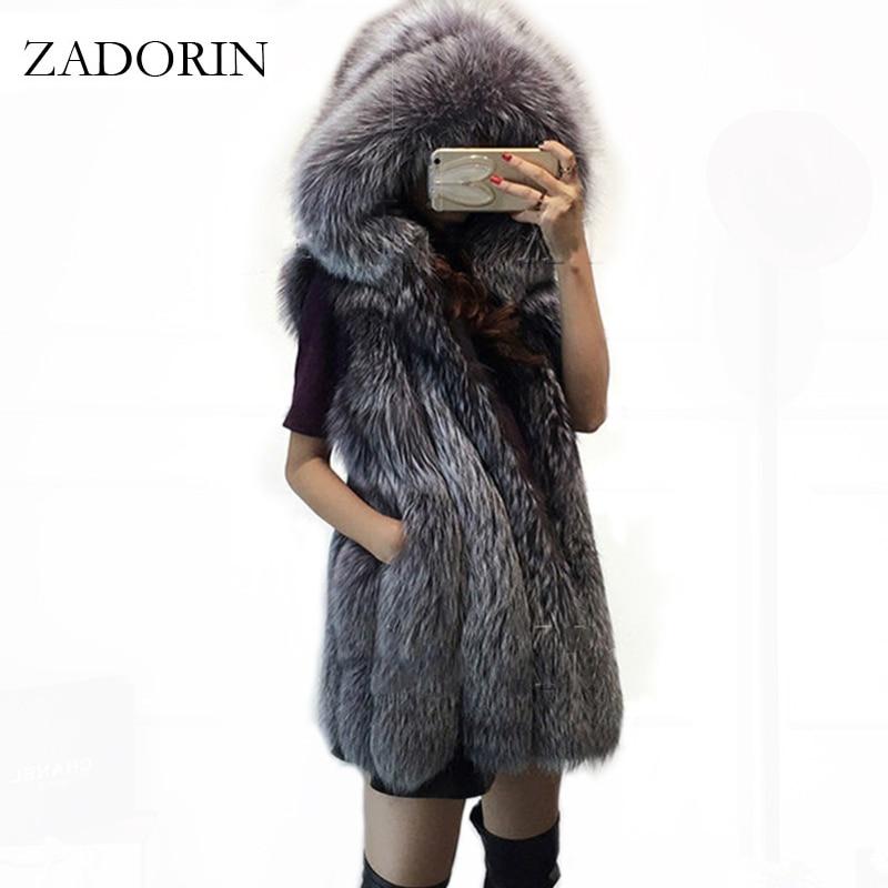 ZARORIN Plus Size Pelzweste Fashion FAUX Fox Fur Vest Hooded Thick Warm Female Outerwear Faux Fur Coat Mex Chaquetas Mujer