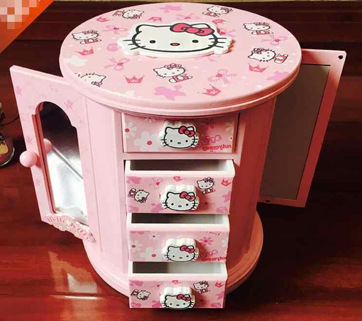 Ym 720 Kartun Hellokitty Hello Kitty Lovely Kayu Kotak Perhiasan Aksesoris