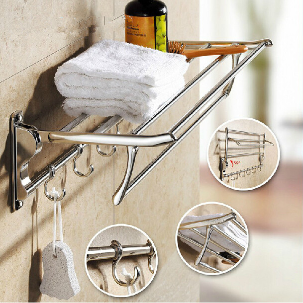 Wall Mounted Space Stainless Steel Double Layer Pallet Hook Bathroom Shelf  Bathroom Accessories Towel Bar Towel