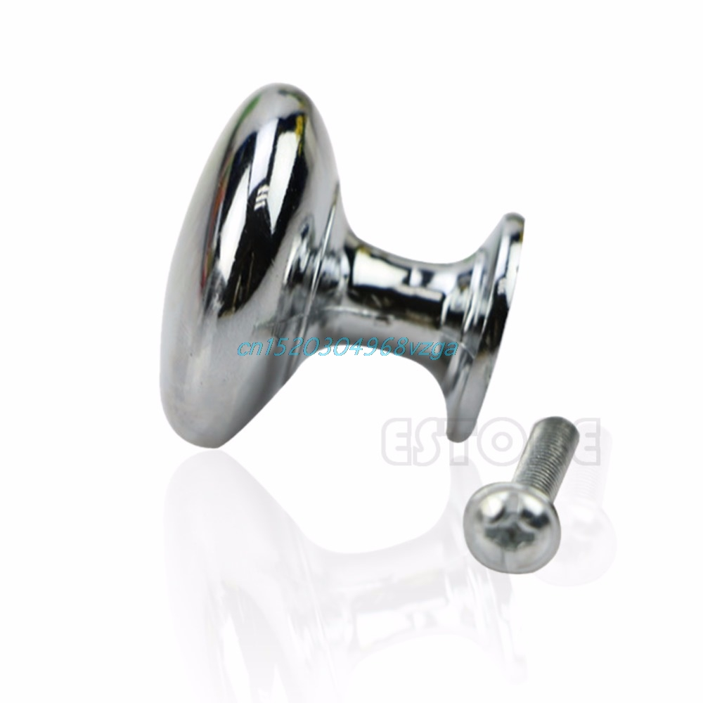 Drawer Door Knob 2 Size S/L Oblate Chrome Kitchen Cabinet Wardrobe Pull Cupboard #H028#