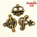 Beadia Fashion hot- 10Sets Antique Bronze Toggle Clasps Ring Connectore Jewelry Findings Free shipping FKG
