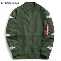 2018 Spring New Fashion Mens Bomber Jacket Hip Hop Patch Designs Printed Pilot Bomber Jacket Coat