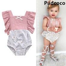 Infant Baby Girls Floral Patchwork Romper Back Cross Jumpsuit Playsuit Clothes Outfits 0-24M цена 2017