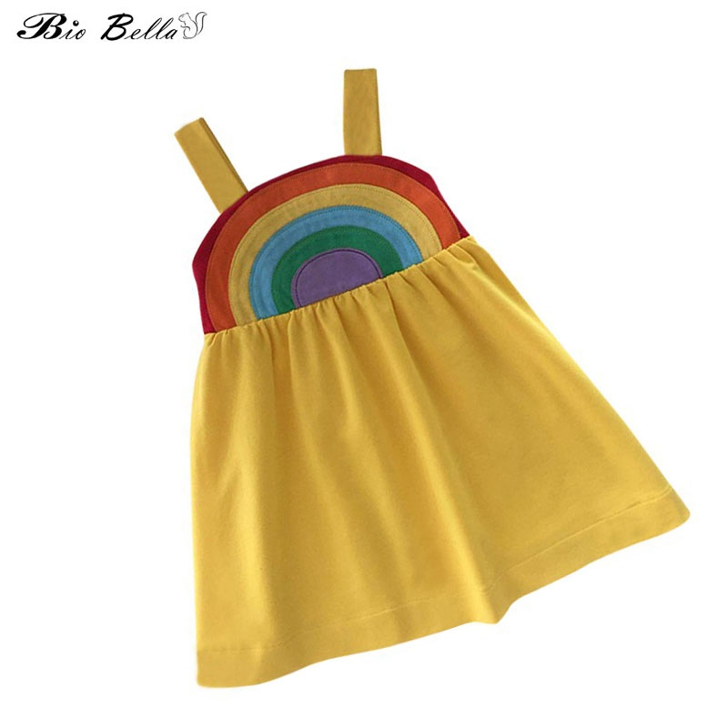 Rainbow Summer Girl Dress New Style Cute Princess Cotton Dresses Cotton Lovely Girl Clothes For Girl Dress 1-5Y Party Dresses hot top summer girls soft cotton solid dress casual ruffles o neck clothes cute short sleeve dresses for princess girl party