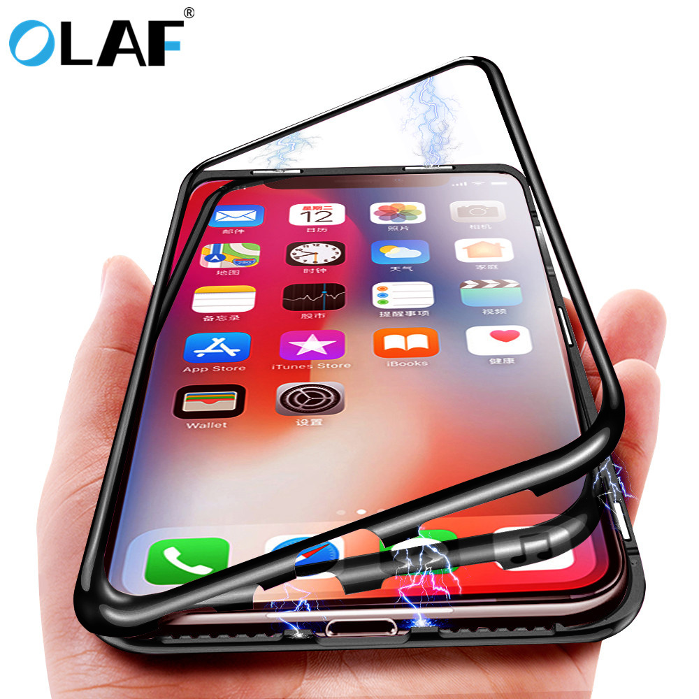 Magnetic Phone Case For iPhone XS Max X XR Case Magnet Screen Protector Tempered Glass For iPhone 8 7 6 6s plus case Coque Cover iphone x mıknatıslı kılıf