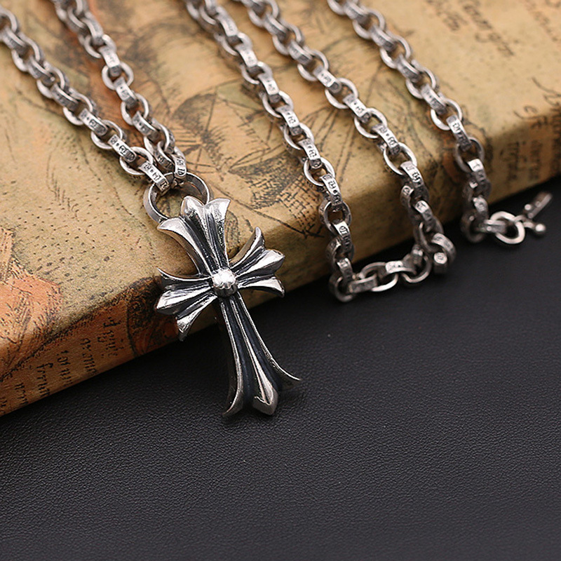 Fashion S925 Sterling Silver Jewelry Retro Thai Silver Vintage Punk Style Cross Necklace Men And Women punk style silver plated etched star circle pendnat necklace for men