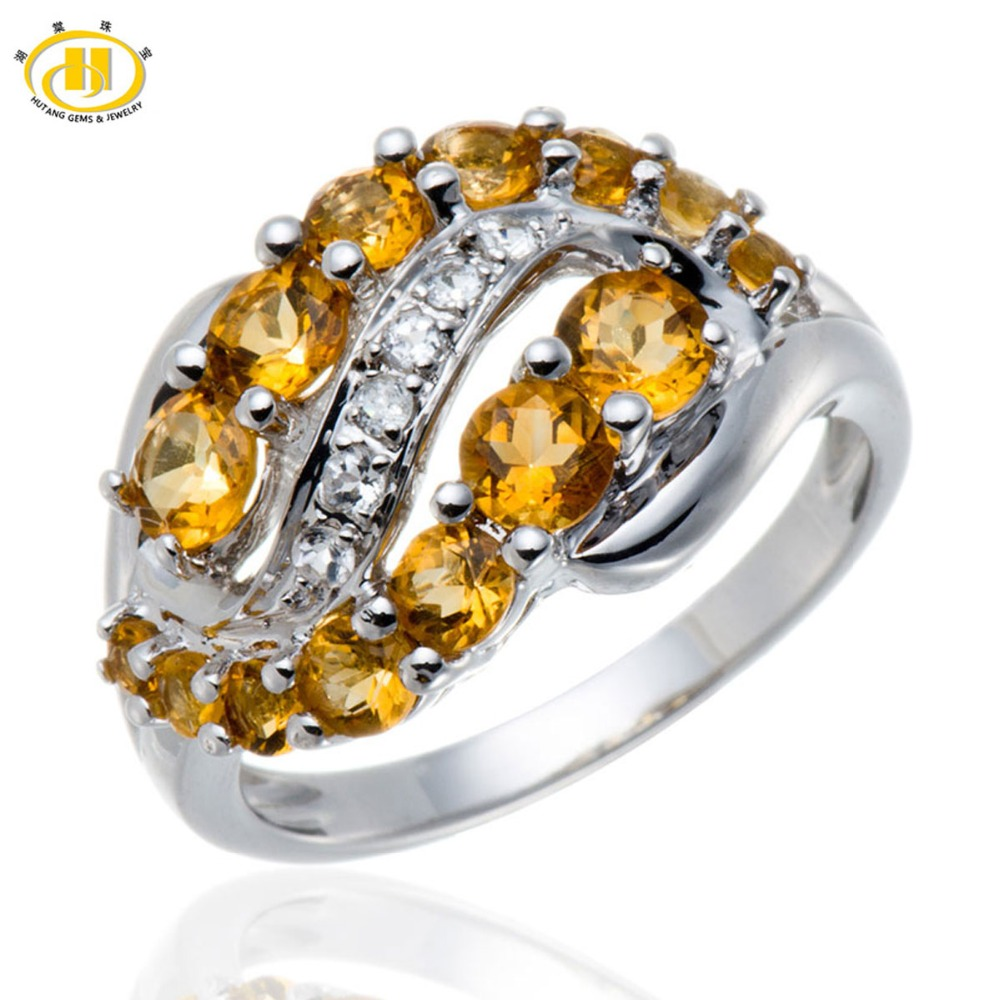 Hutang Natural Citrine White Topaz Gemstone Rings Solid 925 Sterling Silver Journey Ring Fine Fashion Stone