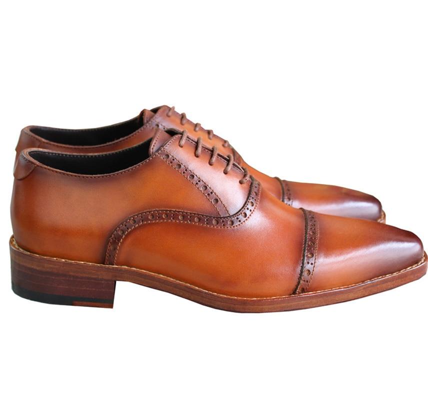 Homens Da De Goodyear O A Novos Casamento Handmade Sapatos Genuíno Marca Marrom Com Welted Oxfords Couro Maloneda Dos Para qt0azOq