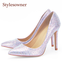 Stylesowner Light Pink Wedding Shoe Full Crystal Bling Y Shoes Sweet Fashionable Shallow Mouth