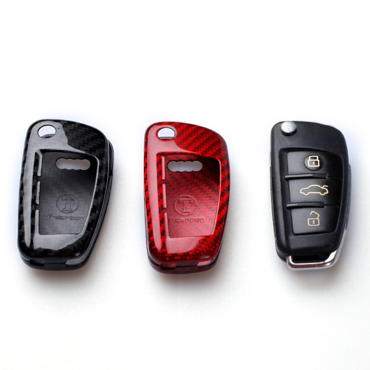 Carbon Fiber Remote Key Case Shell Cover For Audi A1 S1 A3 S3 8P 8V RS 3 A4 B6 B7 A6 S6 C6 Q2 Q3 8U Q7 R8 TT S RS 8J Car Styling