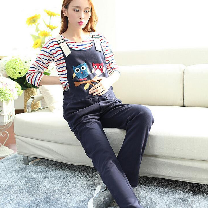 Pants & Capris Maternity Clothing Pants Spring Autumn cartoon owl cotton Overalls Pregnant Women`s Large Size Suspender Trousers стоимость